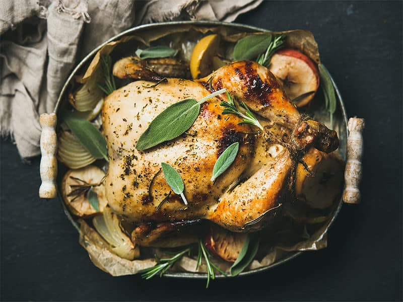 Roasted Whole Chicken Apples