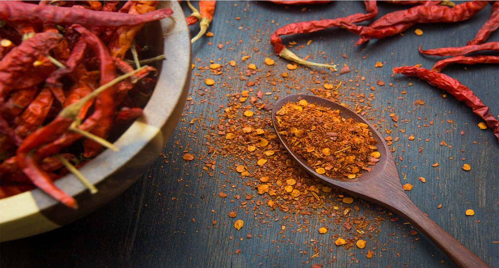 Cayenne Pepper on Wooden